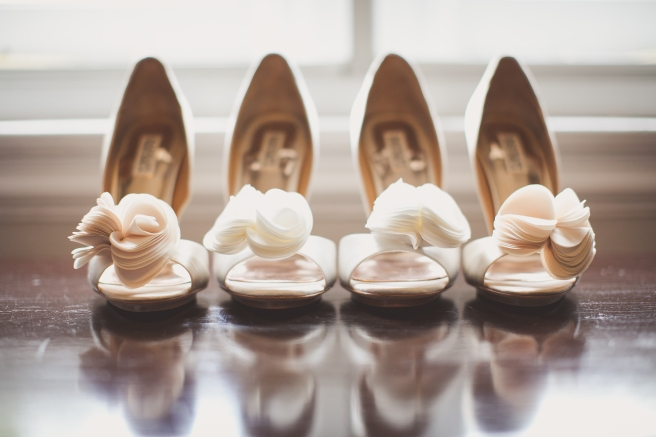 Stunning Bride and Maid of Honour Mischka Badgley shoes in Ivory and Cream