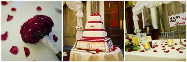 Bridgets bouquet, cake with the brides and grooms signature, sweetheart table for 'The Antwi's'