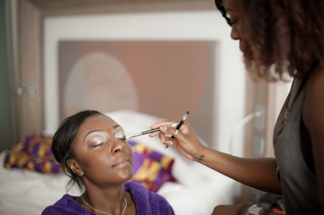 Alison Cameron working her magic on the bride